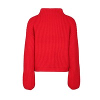 Women Casual Knitwears Autumn Red Plain Short Pullover O Neck Long Sleeve Fashion Elegant Winter Casual