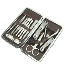 Stone Pattern Case+1 set 12pcs Nail Clipper Kit Nail Care Set Pedicure Scissor Tweezer Knife Ear pick Utility Manicure Set Tools
