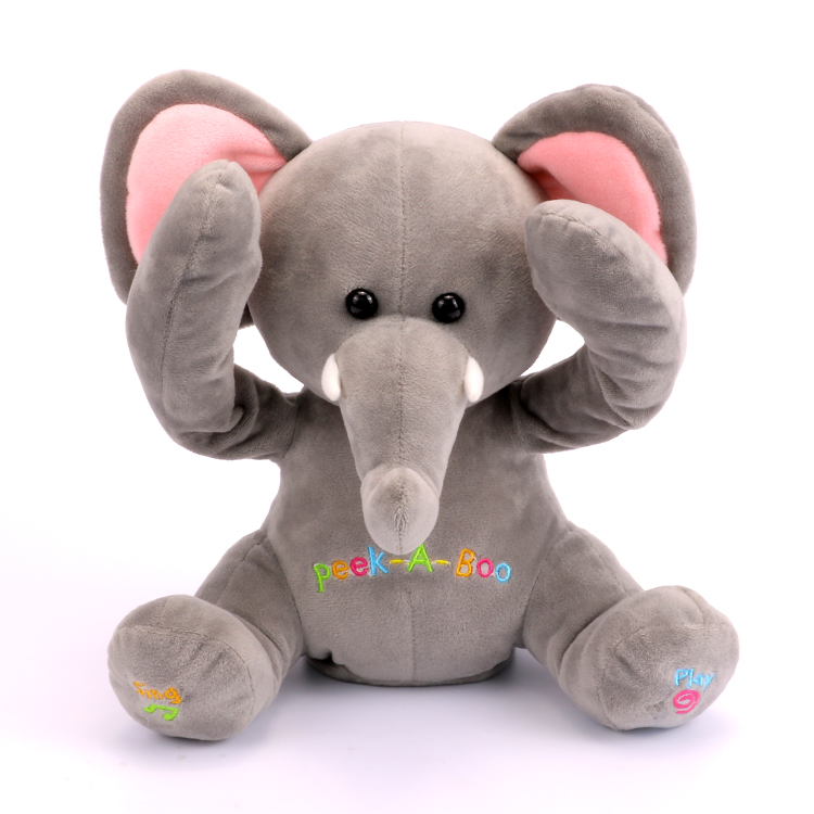 Free Shipping New Peek A Boo Elephant, Stuffed animated & Plush Toy elephant ,Singing Baby Music Toys For Kids Gift 30cm peek a boo elephant plush toy stuffed animal music elephant doll play hide and seek lovely cartoon toy for kids baby gift