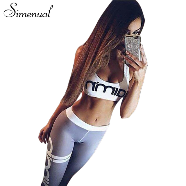 Simenual 2017 bras leggings 2pcs women's tracksuits sportsuit letter print athleisure fitness sexy women sets push up tracksuit