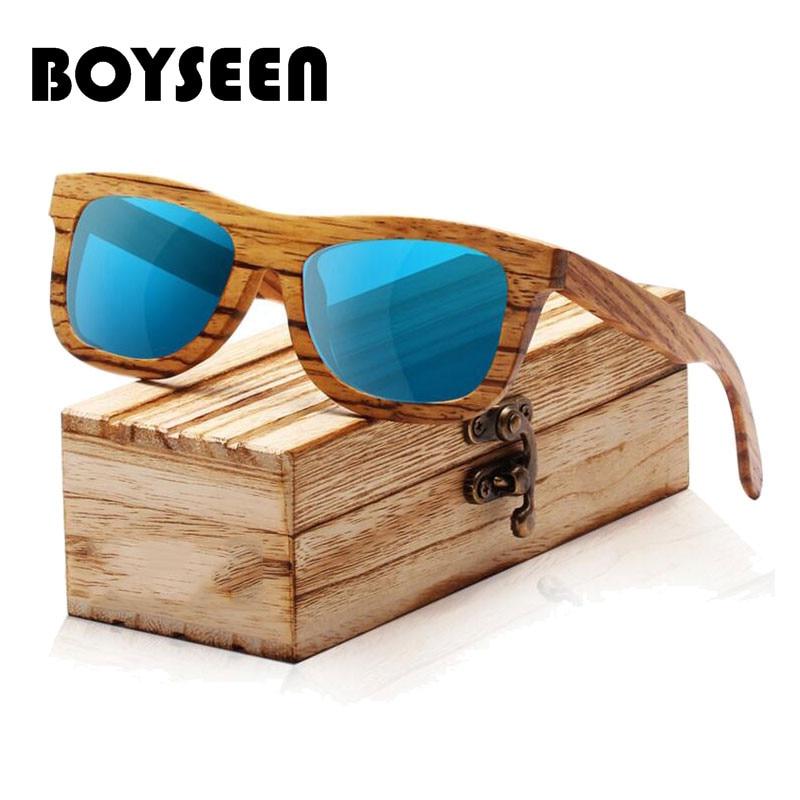 BOYSEEN New 100% Real Wood Sunglasses Polarized Handmade Bamboo Mens Sunglass Sun glasses Men Gafas Oculos De Sol Madera BA03