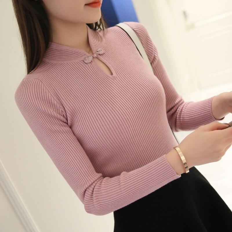 Hot 2017 Inverno Novas Mulheres Da Moda blusas Elegantes Cheongsam camisola collar mulheres magros pullover sweater Feminino De Malha De Grandes Dimensões