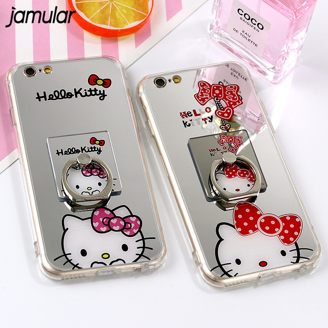 28a05bee01cbe5 JAMULAR For iphone X 8 7 Plus Case Cartoon Mirror TPU Soft Silicon Hello  Kitty Case For iphone 7 6 6s Plus Cases Ring Stand Capa
