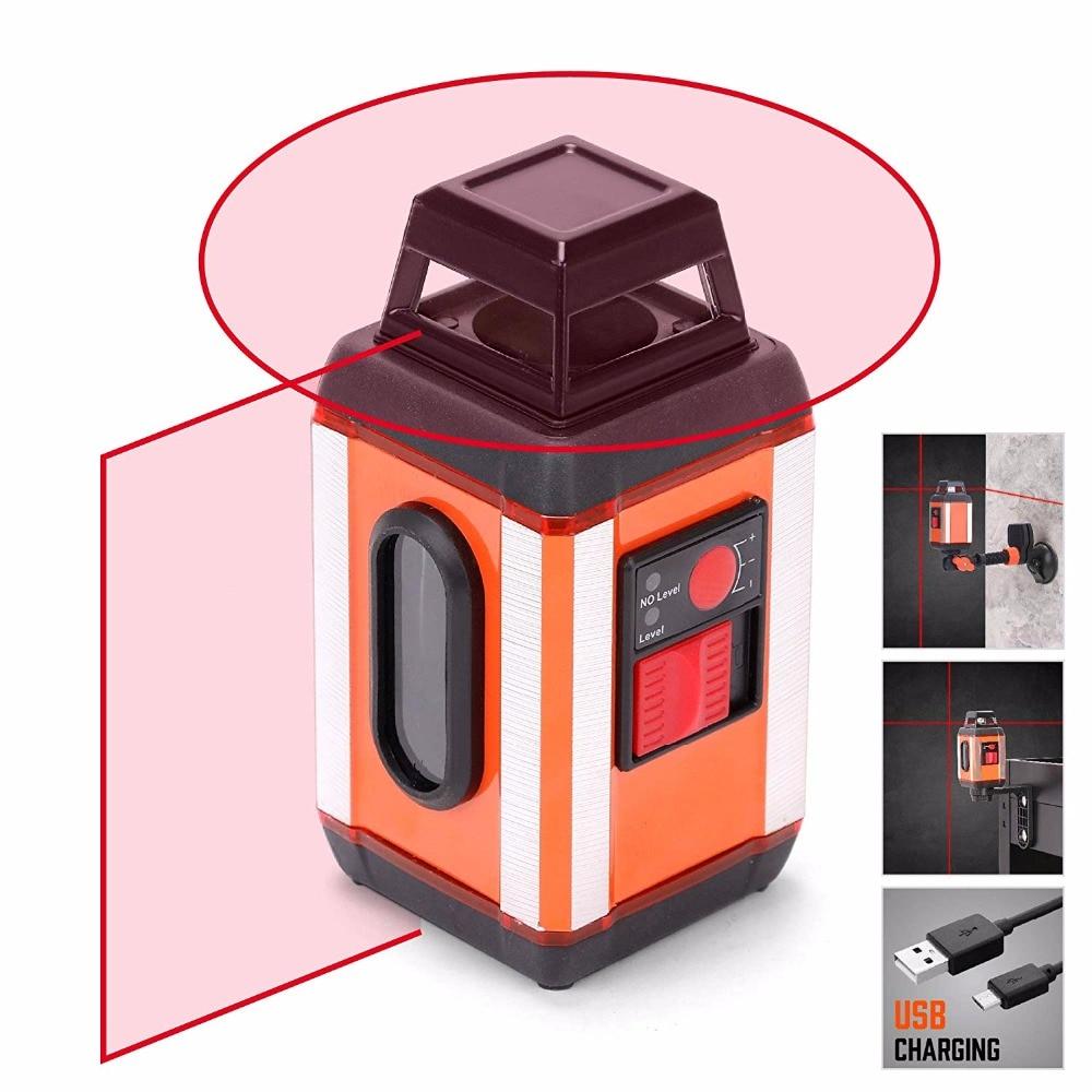 Niveau Laser, ligne horizontale HORUSDY 360 degrés et verticale, rotative à 360 degrés avec Base magnétique, Clip de montage, chargement UPS