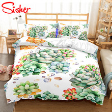 купить Sisher Pastoral Bedclothes Duvet Cover And Pillowcase Adult 3D Floral Leaf Print Duvet-cover Single Twin Double Full Queen King по цене 297 рублей