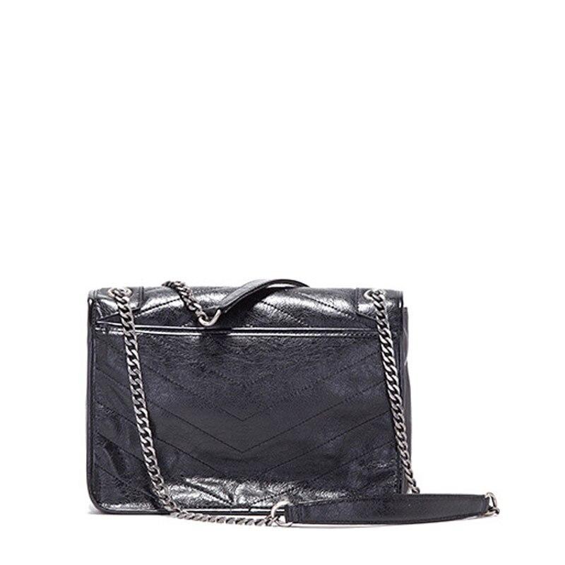 Bagaj ve Çantalar'ten Omuz Çantaları'de 2019 Hakiki Deri kadın zincir askılı çanta Inek Deri Moda Çanta Bağbozumu omuzdan askili çanta Ünlü Marka Satchels Tote Çanta'da  Grup 3