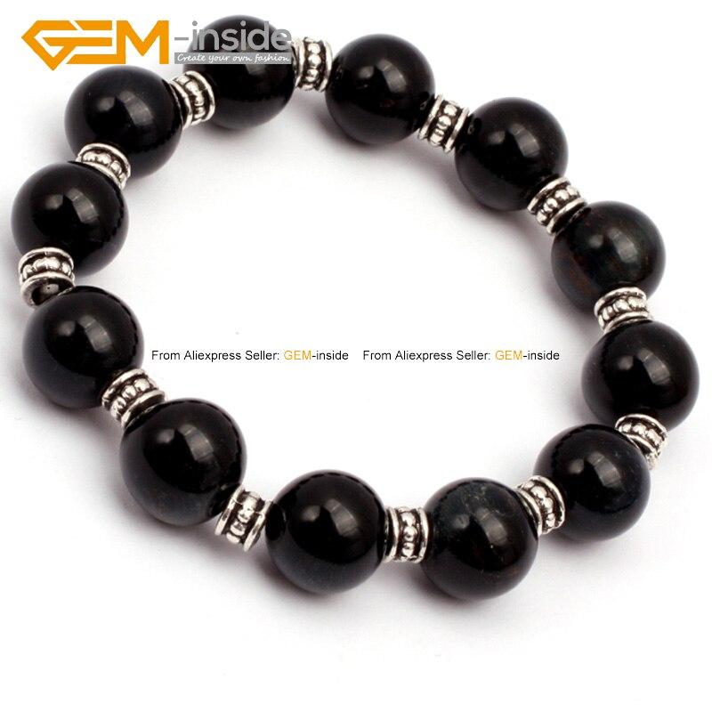 Round Natural Blue Tiger Eye Beads Bracelet Fashion DIY 7.5inch Party Gift FreeShipping Wholesale Gem-inside