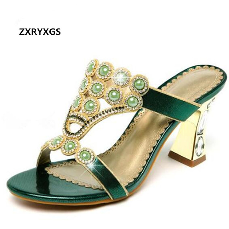 Hot 2019 Newest Open Toe Rhinestones Shoes Woman Shoes High Heeled Sandals Genuine Leather Fashion Sandals Summer Women Sandals-in Middle Heels from Shoes    1