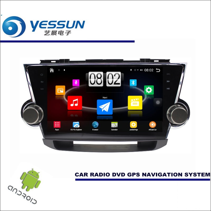 Yessun автомобиля Android мультимедийный плеер для Toyota Highlander xu40/Kluger Радио стерео GPS nav Navi (без cd dvd) 10.1 HD Экран