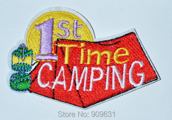 US $150 0 |Boy Girl 1ST TIME CAMPING Fun iron on Patch Crests Badges GUIDES  SCOUTS First tent-in Patches from Home & Garden on Aliexpress com |