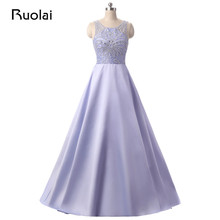 Vestido de Festa 2017 Lilac Scoop Top Beaded Prom Dresses Women Dress with Stones and Crystals Luxury Evening Dresses Long PD20