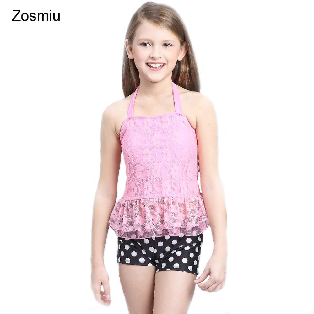 Zosmiu Hot Selling Lace Slim Swimwear Kids Summer Holiday Dots Beachwear Retail Two -9224