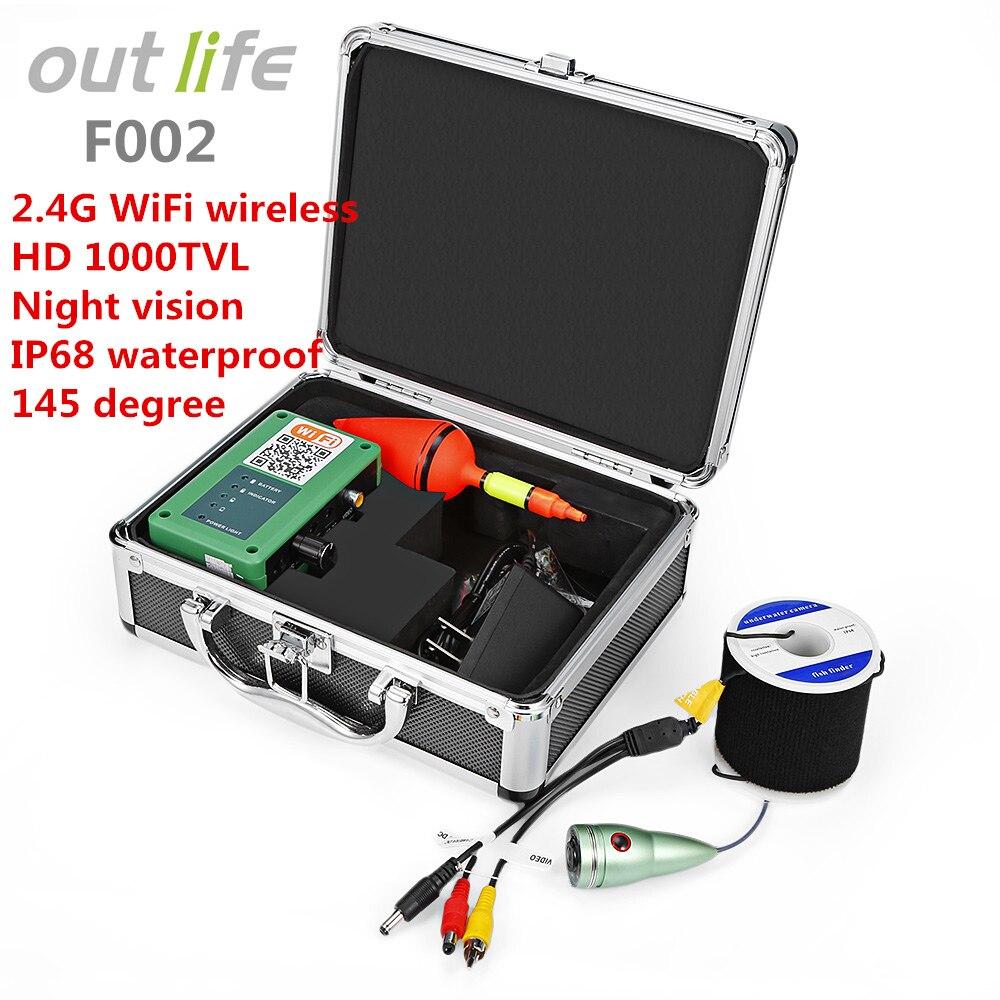 Outlife F002 20 м подводный Wi-Fi Беспроводной Рыбалка детектор Рыболокаторы с Профессиональное видео Камера HD 1000TVL Fishfinder
