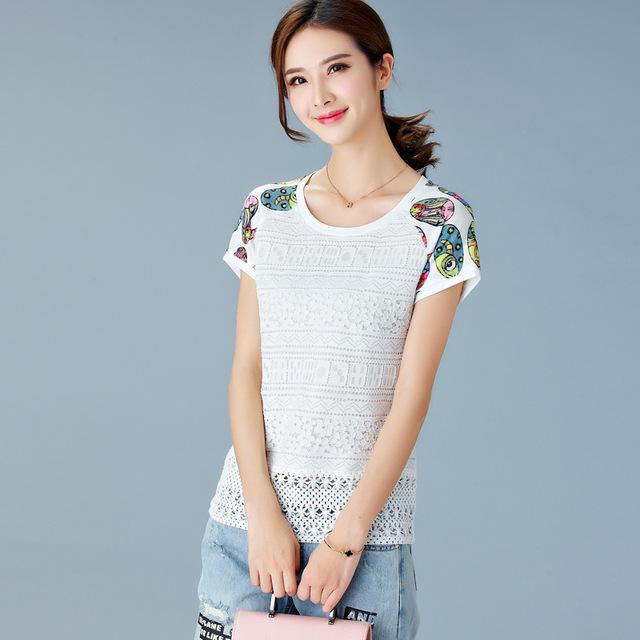 Branco Rendas Camisetas Mulheres Verão Coreano Roupas Da Moda Manga Curta magro O Pescoço Impresso Tops Plus Size Venda Quente Camiseta XXXL