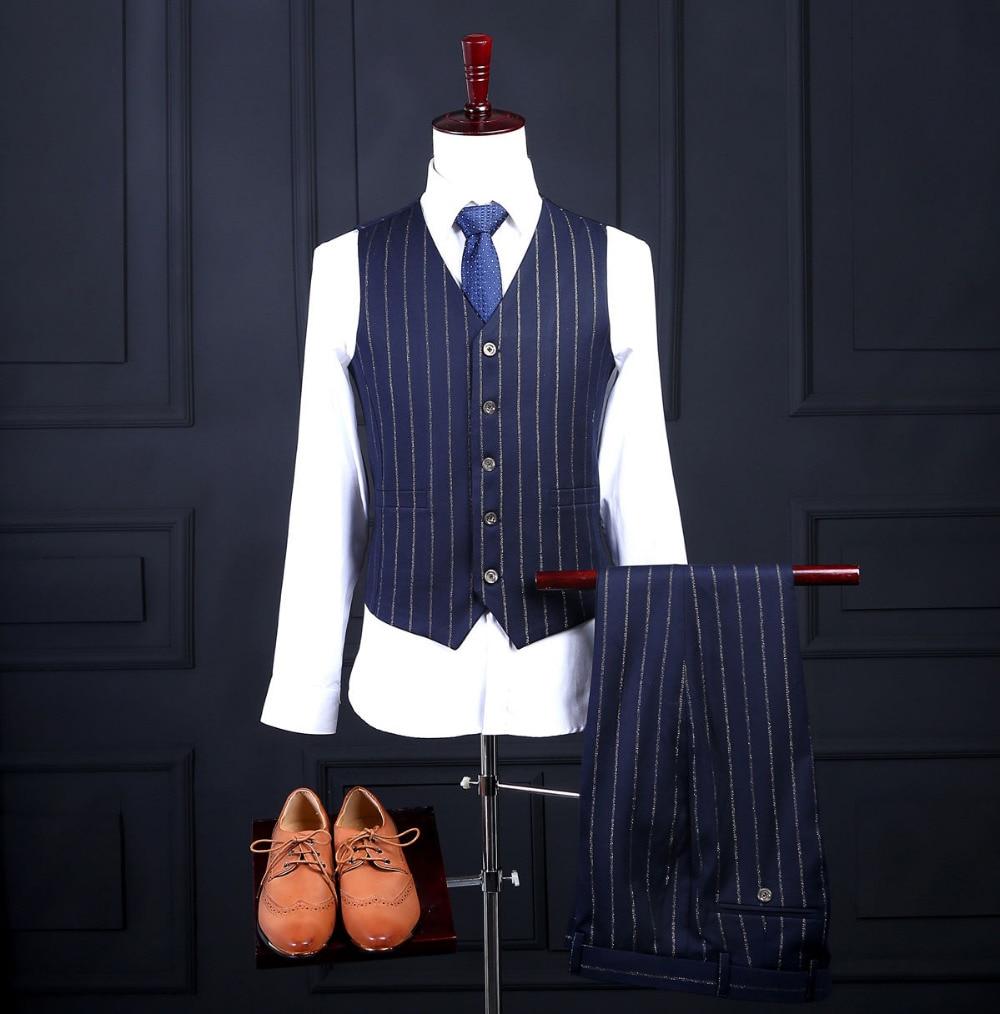 2020 rayé hommes costume dernier manteau pantalon conceptions mode formelle sur mesure Blazer hommes costumes (veste + pantalon + cravate + gilet + mouchoirs)-in Costumes from Vêtements homme    3