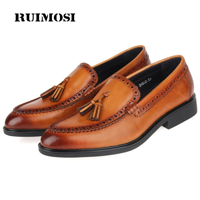 RUIMOSI Round Toe Slip on Man Casual Shoes Genuine Leather Male Loafers Vintage Designer Brand Tassels Men's Flats GK77
