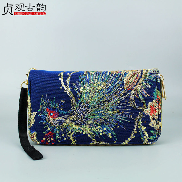 Handmade Peacock Embroidery Standard Wallet Canvas Bohemian Women Glittering Pattern Purse Ethnic Series Zipper Coin Pocket Bags