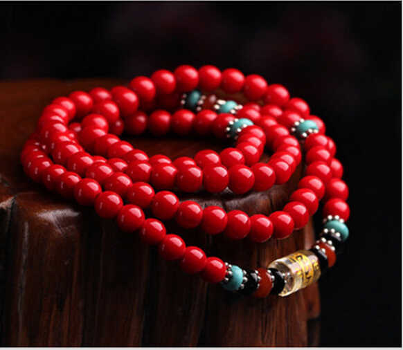 XUEYUN 2017 604+++Fine Beads 6mm synthetic red coral 108 DIY bracelets bracelets wholesale