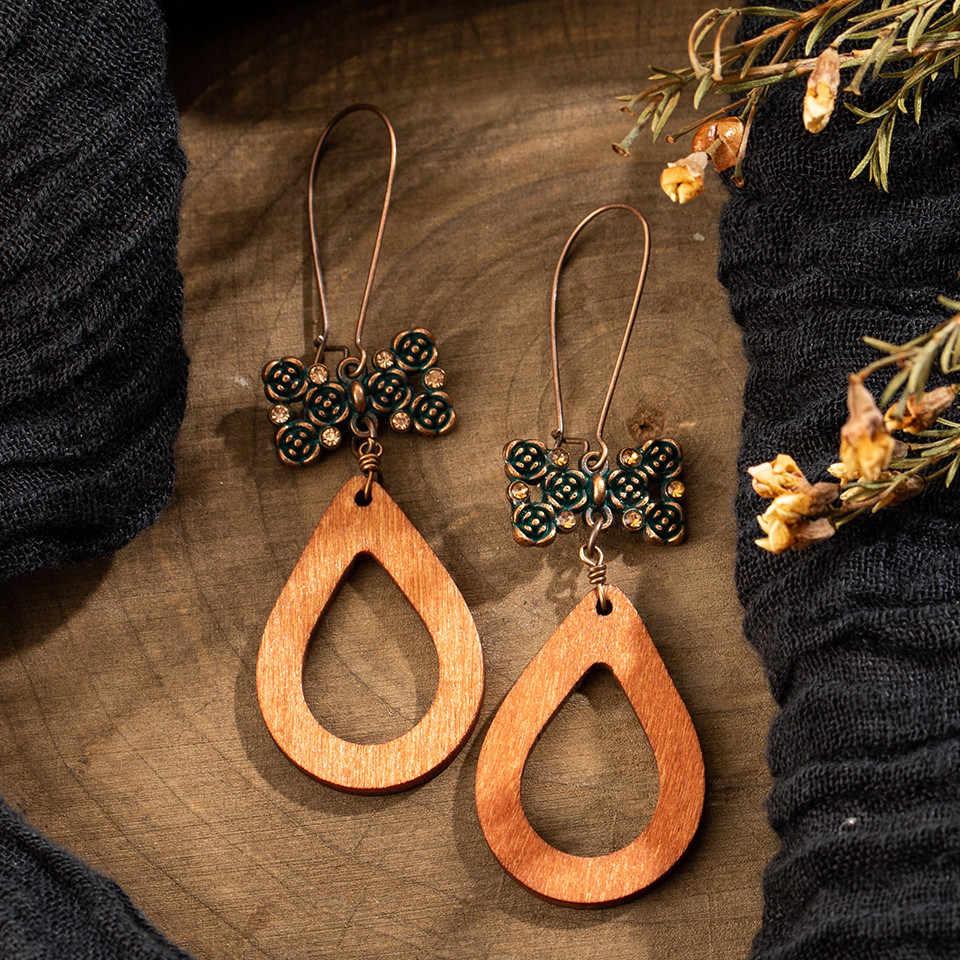 Độc đáo Bằng gỗ Làm Bằng Tay giọt Nước Bông Tai cho phụ nữ Dân Tộc Hollow Flower Dài tassel hoa tai của Phụ Nữ Quyến Rũ Dangle Earring