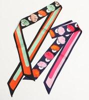 Eyes Print Fashion Lady High Grade Silk Twilly Bags Skinny Scarf Small Ribbon Long Hair Band