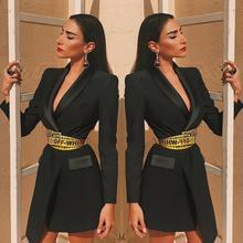 Women's Blazer Long Sleeve Lapel Collar Pocket Slim Female Coat Spring Office Lady Fashion Clothin Autumn Black Suit Jacket slim fit lapel collar seam pocket spliced blazer