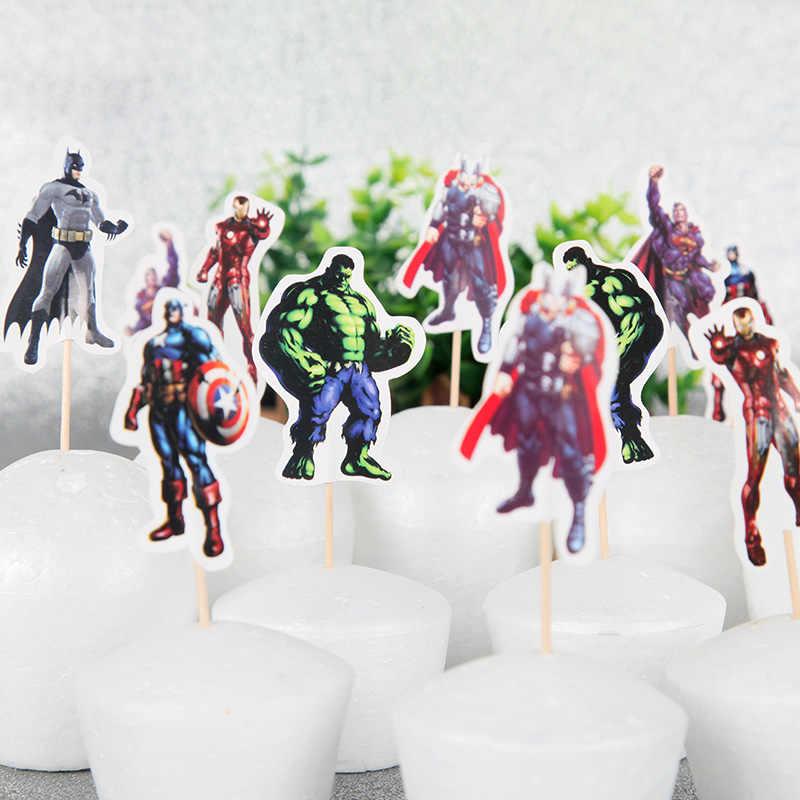 24 sztuk/partia chłopca na rzecz Cupcake Decor kapitan ameryka Iron Man SuperMan Hulk ciasto flagi Topper Party deser pieczenia dekoracje