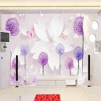 Photo papier peint 3D Stéréo Romantique Pissenlit TV Salon Chambre Canapé Fond des douanes papier peint hall Murale