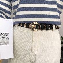 HUOBAO New Strap Women Waist Belt Hollow Rivets PU Leather for Womens Slim Waistband Female Ladies Apparel Accessories