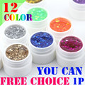 12 Colors Free choice Perfect Polish Gel Long-lasting Soak-off UV big Huge sequins Nail Glitter Summer Nail Gel Soak off Lacquer