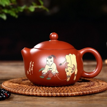 yixing undressed ore red mud all hand recommended zhu xi shi pot support custom coloured drawing or pattern the teapot