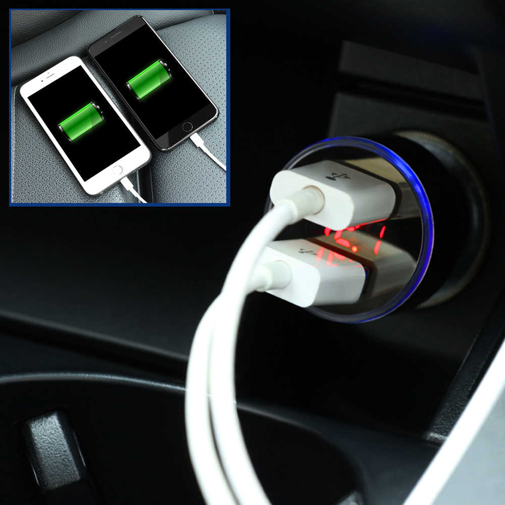 Cargador de coche 5 V 3.1A con pantalla LED Universal Dual Usb para Peugeot 106, 206, 207, 208, 306, 307, 308 sw 3008 cc 407, 2008, 4008, 5008