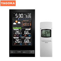 PT2800U Colorful LCD Display Weather Station Temperature Humidity Sensor With Barometer Weather Forecast Radio Control Time