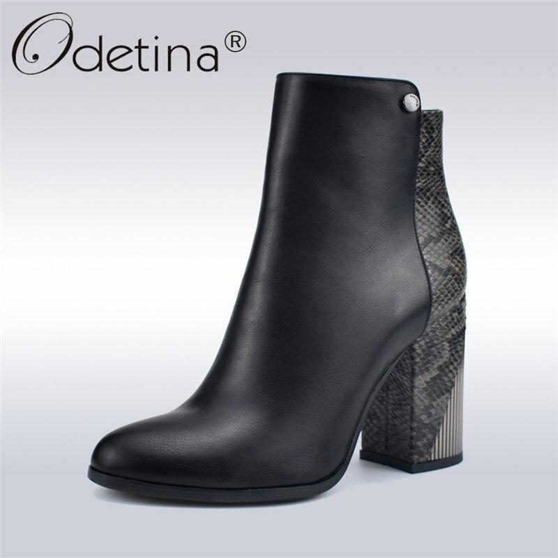 Odetina Mode Vintage Femmes Épais Carré À Talons Hauts Cheville Bottes Glissière Latérale Bout Rond Femme Serpent Bottes D'hiver Partie Chaussures