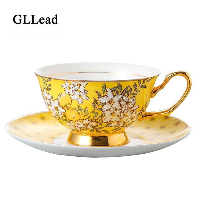 Gllead Korean Style Bone China Coffee Cup Saucer Top Grade Design In Golden Yellow Flower Teacup