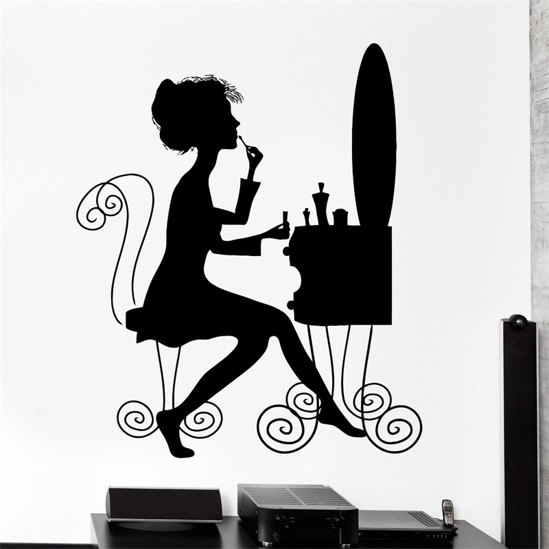 Wall decal beauty salon makeup style woman dressing table for Beauty parlour dressing table images