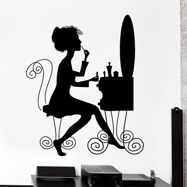 Wall Decal Beauty Salon Makeup Style Woman Dressing Table Vinyl Sticker