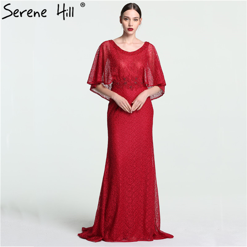 Dubai  Wine  Red  Evening Gowns with  Shawl Beading  Lace Mermaid  Evening Dress Long High-end Luxury 2019 Serene Hill LA6137