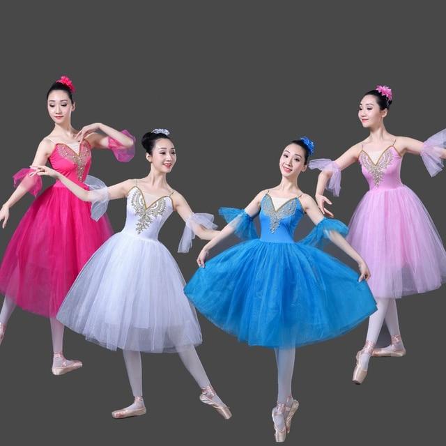 Adulto Balletto Romantico Tutu del Pannello Esterno Pratica di Prova Swan Costume per Le Donne Abito Lungo In Tulle Bianco rosa blu di colore di Usura di Balletto
