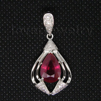 Jewelry Sets Vintage Pear 8x12mm Solid 14Kt White Gold Natural Diamond Ruby Pendant WP011