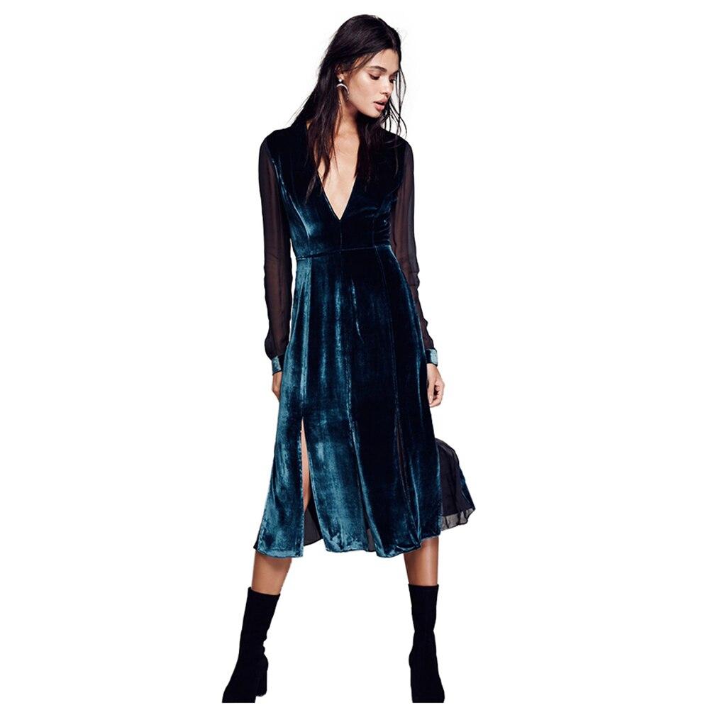 Femmes de Nouveau Sexy Velours Couture En Mousseline de Soie Robe À Manches Longues Printemps Été Col V Sexy Taille Haute Tempérament Paon Bleu
