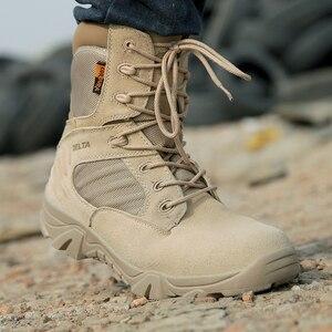 Image 5 - גברים של נעלי עבודת עור אמיתי עמיד למים תחרה עד טקטי אתחול אופנה אופנוע גברים Combat קרסול צבאי צבא מגפיים