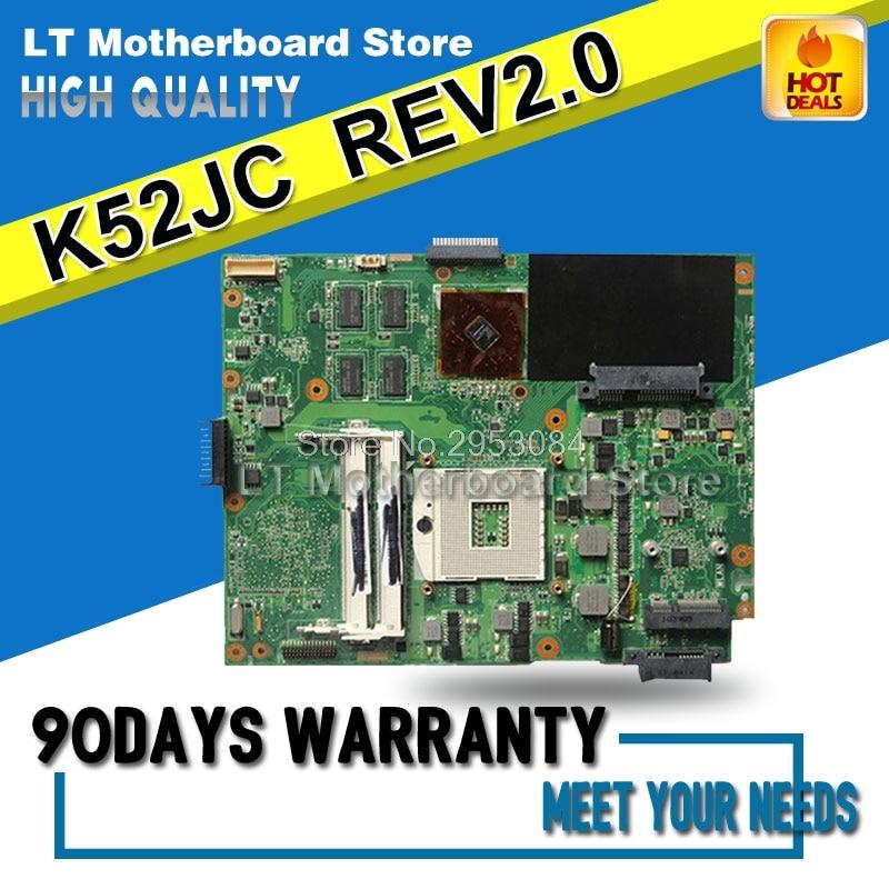 Original K52JC REV:2.0 GT 310M 1GB For ASUS K52J K52JU K52JR K52JT X52J A52J K52JE laptop Motherboard HM55 DDR3 mainboard k52jr rev 2 0 2 2 hd5470 1gb motherboard for asus k52je a52j x52j k52ju k52jt k52jc k52j laptop original notebook motherboard