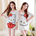 Women Summer Casual Tracksuit Pajamas 2 Pc Nightgown Sets Cute Hello Kitty Bat Sleeve Tops Shorts Sleepwear Homewea Clothing Set