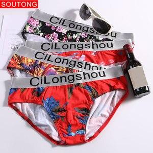 Image 3 - Soutong 4 sztuk/partia męskie majtki bielizna czysta bawełna nadruk seksowne figi męskie niskiej talii Cueca Hombre Calzoncillos Gay bielizna mężczyzn