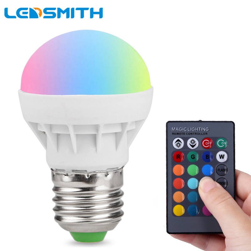 3W RGB LED Bulb E27 Spotlight AC85-265V 220V 110V 16 Color RGB Changeable LED Lamp Light with IR Remote Controller
