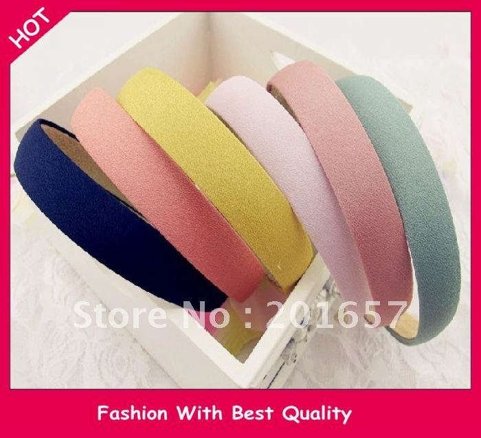 Wholesale and Retail fashion summer fabric hairband solid color headband matching dree 5 colors assorted 2cm 24pcs/lot