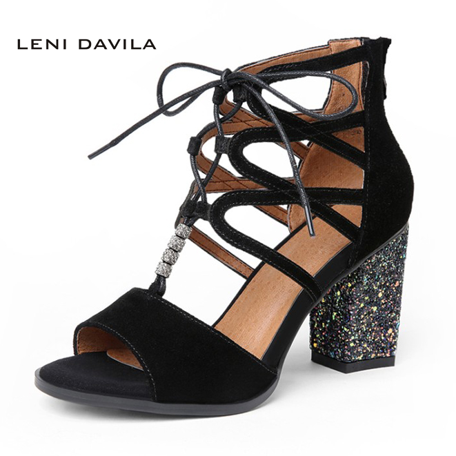 LENI DAVILA Summer Women's Peep Toe Cross-tied Sexy sandals handmade High Heels Fashion Cover Heel comfortable shoes for women on off start stop push button pushbutton switch 87x56mm with dust cover