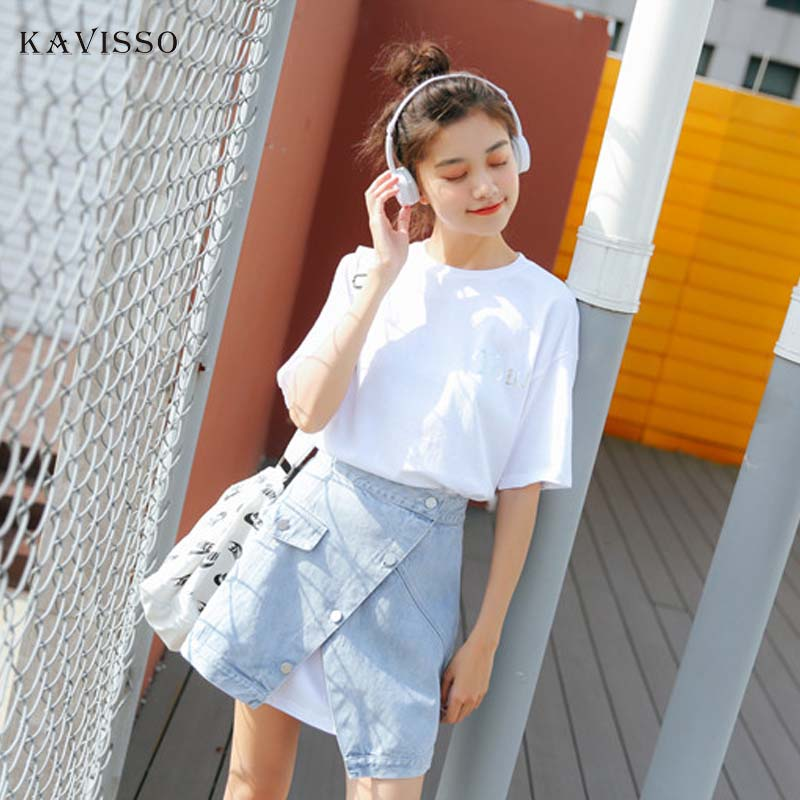 KAVISSO Korean Denim Set Women Fashion Split irregular Jean Skirt Set Ladies Summer T shirt Dress 2 Piece Set 2019