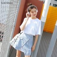 KAVISSO Korean Denim Set Women Fashion Split irregular Jean Skirt Set Ladies Summer T shirt Dress 2 Piece Set 2019