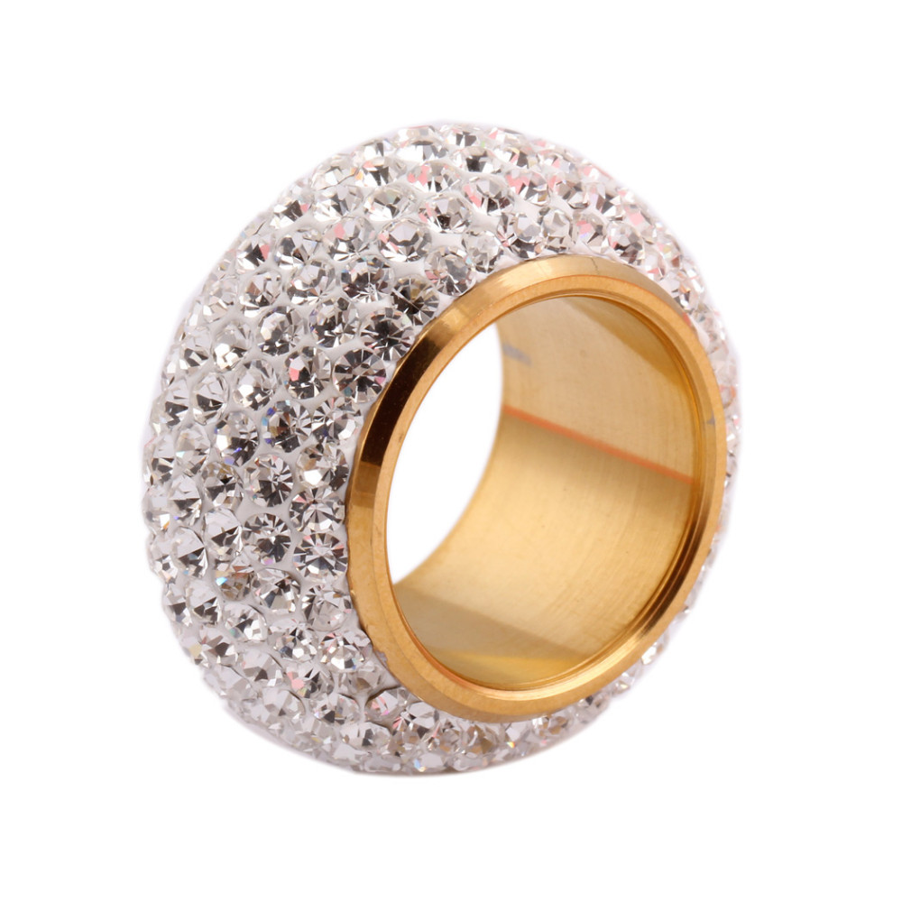 Wholesale shining full rhinestone finger rings for woman luxurious paragraph fashion new antique rose gold-color